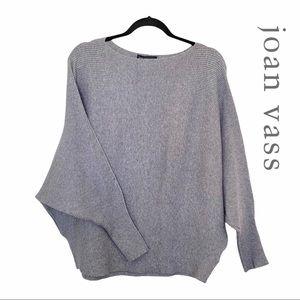 Joan Vass Grey Ribbed Dolman Sleeve Sweater